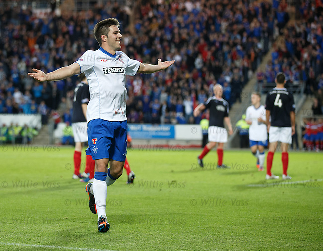 Andy Little celebrates his winning goal to the Rangers fans