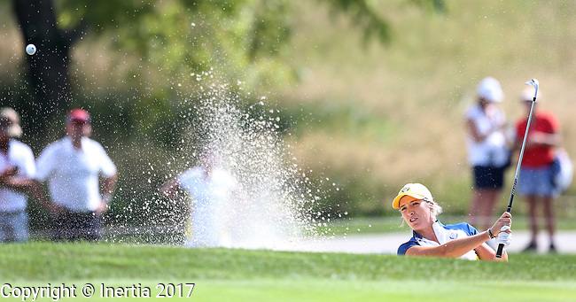 DES MOINES, IA - AUGUST 18: Europe's Mel Reid blasts out of the bunker on the 11th hole during Friday's morning match at the 2017 Solheim Cup in Des Moines, IA. (Photo by Dave Eggen/Inertia)