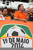 SAO PAULO, SP, 01/05/2014, FESTA DO TRABALHADOR. Acontece hoje (1) Dia do Trabalhador, a Festa da Central Sindical na Pca Campos de Bagatelli no bairro de Santana. Na foto  Paulinho da forca. LUIZ GUARNIERI/BRAZIL PHOTO PRESS.