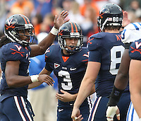 Virginia kicker Robert Randolph ce;ebrates a field goal during an ACC football game Saturday in Charlottesville, VA. Duke won 28-17. Photo/Andrew Shurtleff