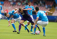 in action during the Italian Serie A soccer match between SSC Napoli and AC Fiorentina  at San Paolo stadium in Naples,October 18, 2015