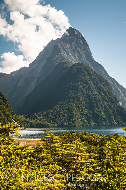 Mitre Peak 1692m in Milford Sound, Fiordland National Park, UNESCO World Heritage Area, Southland, New Zealand, NZ