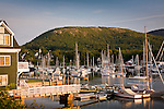Morning light on Camden Harbor and Mount Battie, Camden, ME, USA