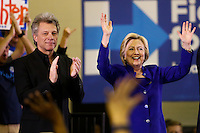 NEWARK, NJ - JUNE 01 : U.S. Democratic presidential candidate Hillary Clinton and singer Jon Bon Jovi during a campaign rally on June 01, 2016 in Newark, New Jersey. Hillary Clinton only needs 73 delegates to clinch the party's nomination. on June 7 New Jersey will hold its primary elections, a state that will be awarding 142 total Democratic delegates. Photo by VIEWpress