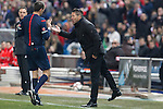 Atletico de Madrid´s coach Diego Pablo Simeone argues with the referee during 2014-15 `Copa del Rey´ Spanish Cup match at Vicente Calderon stadium in Madrid, Spain. January 07, 2015. (ALTERPHOTOS/Victor Blanco)