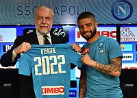 il presidente del Napoli Aurelio De Laurentiis e i   Lorenzo Insigne, annunciano la firma del nuovo contratto che leghera il cxalciatore alla societa azzura fino al 2022
