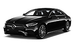 2019 Mercedes Benz CLS Coupe AMG line 4 Door Sedan angular front stock photos of front three quarter view