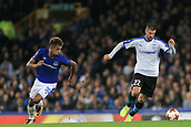 28th September 2017, Goodison Park, Liverpool, England; UEFA Europa League group stage, Everton versus Apollon Limassol; Valentin Roberge of Apollon Limassol breaks away from Mason Holgate of Everton