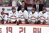 Julius Mattila (BC - 26), Chris Calnan (BC - 11), Mike Ayers (BC - Assistant Coach), Zach Walker (BC - 14), Ron Greco (BC - 28), Marty McInnis (BC - Assistant Coach), Mike Booth (BC - 12) - The visiting University of Vermont Catamounts tied the Boston College Eagles 2-2 on Saturday, February 18, 2017, Boston College's senior night at Kelley Rink in Conte Forum in Chestnut Hill, Massachusetts.Vermont and BC tied 2-2 on Saturday, February 18, 2017, Boston College's senior night at Kelley Rink in Conte Forum in Chestnut Hill, Massachusetts.