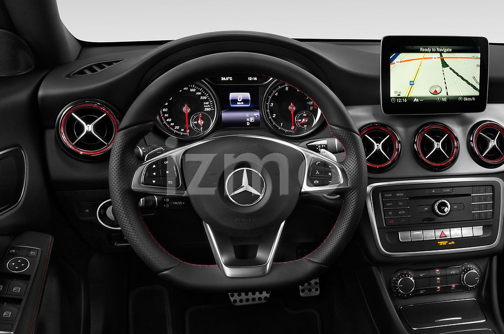 Car pictures of steering wheel view of a 2018 Mercedes Benz CLA Shooting Brake Sport 5 Door Wagon