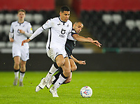 2nd January 2020; Liberty Stadium, Swansea, Glamorgan, Wales; English Football League Championship, Swansea City versus Charlton Athletic; Ben Cabango of Swansea City and Darren Pratley of Charlton Athleic jostle for the ball - Strictly Editorial Use Only. No use with unauthorized audio, video, data, fixture lists, club/league logos or 'live' services. Online in-match use limited to 120 images, no video emulation. No use in betting, games or single club/league/player publications