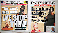 The New York Daily News and the New York Post use freeze frames on their covers on Wednesday, September 3, 2014 for their coverage of the beheading of kidnapped American journalist Steven Sotloff at the hands of the terrorist group ISIS.   (© Richard B. Levine)