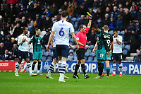 Rhian Brewster of Swansea City is given a yellow card during the Sky Bet Championship match between Preston North End and Swansea City at the Deepdale Stadium in Preston, England, UK. Saturday 01 February 2020