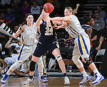 SIOUX FALLS, SD - MARCH 9: Vicky McIntyre #34 of Oral Roberts, Clarissa Ober #21 and Ellie Thompson #45 of SDSU battle for the ball in the second half of their semi-final round Summit League Championship Tournament game Monday afternoon at the Denny Sanford Premier Center in Sioux Falls, SD. (Photo by Dick Carlson/Inertia)