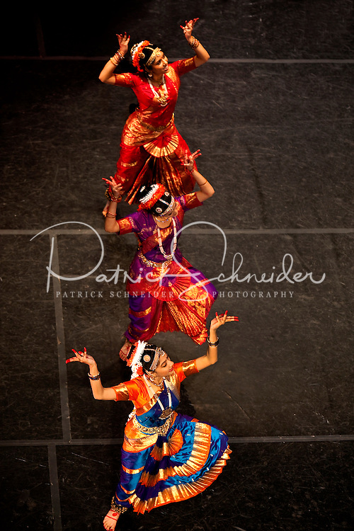 Photography of the Dances of India performance held April 2009 at Charlotte's Central Piedmont Community College (CPCC) in the Halton Theater. The traditional Indian classical and folk dances were led by internationally-acclaimed performer, Dr. Maha Gingrich. (No model releases - editorial only - public event)