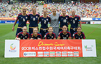 The USWNT lines up before the finals of the Peace Queen Cup.  The USWNT defeated Canada, 1-0, at Suwon World Cup Stadium in Suwon, South Korea.