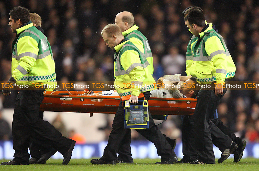 Sandro of Spurs is stretchered off - Tottenham Hotspur vs West Ham Utd, Barclays Premier League at White Hart Lane, Tottenham - 25/11/12 - MANDATORY CREDIT: Rob Newell/TGSPHOTO - Self billing applies where appropriate - 0845 094 6026 - contact@tgsphoto.co.uk - NO UNPAID USE.