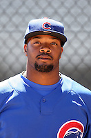 Ty'Relle Harris of the Chicago Cubs plays in a minor league spring training game against the Los Angeles Angels at the Angels minor league complex on April 3, 2011  in Tempe, Arizona. .Photo by:  Bill Mitchell/Four Seam Images.