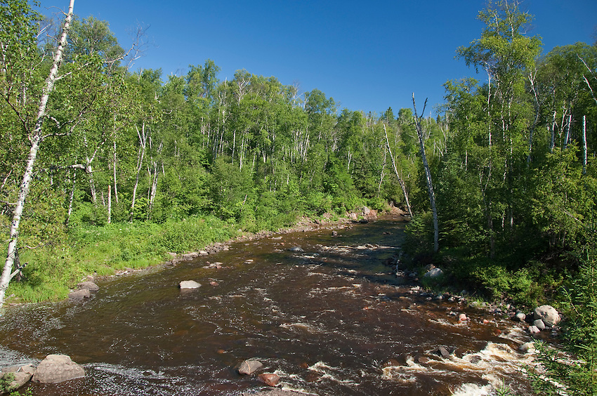 The Temperance River, a Lake Superior Tributary in northern Minnesota at Temperance River State Park.