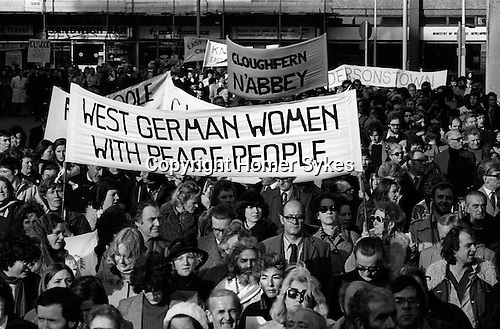 Peace Movement. Peace People. Peace March supporters from many nations took part, West German Women for Peace, march  from Hyde Park through London to a Trafalgar Square rally. 1976