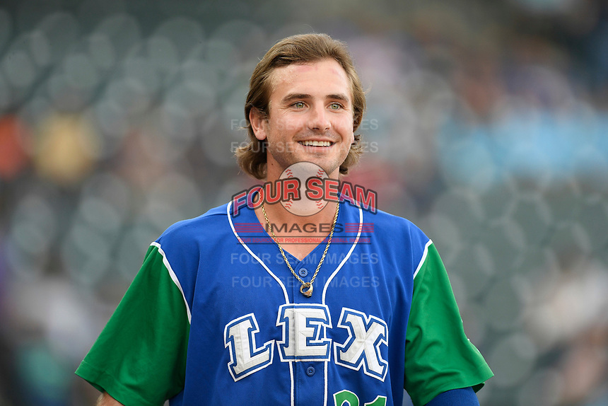 First baseman Reed Rohlman (21) of the Lexington Legends in a game against the Columbia Fireflies on Thursday, June 13, 2019, at Segra Park in Columbia, South Carolina. Lexington won, 10-5. (Tom Priddy/Four Seam Images)