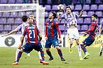 Real Valladolid's Andre Leao (c-r) and Levante UD's Natxo Insa (l), Victor Casadesus (c-l) and Jason Remeseiro during La Liga Second Division match. March 11,2017. (ALTERPHOTOS/Acero)
