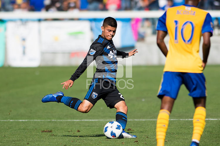 San Jose, CA - Sunday October 21, 2018: Eric Calvillo during a Major League Soccer (MLS) match between the San Jose Earthquakes and the Colorado Rapids at Avaya Stadium.