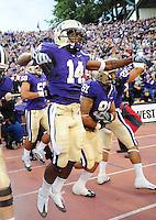 Sept. 5, 2009; Seattle, WA, USA; Washington Huskies tailback (14) Curtis Shaw enters the field prior to the game against the LSU Tigers at Husky Stadium. Mandatory Credit: Mark J. Rebilas-