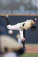 Relief pitcher Gabriel Feldman #11 of the Wake Forest Demon Deacons in action versus the Coastal Carolina Chanticleers at Wake Forest Baseball Park April 8, 2009 in Winston-Salem, North Carolina. (Photo by Brian Westerholt / Four Seam Images)