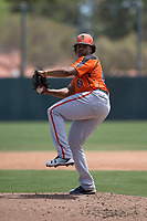 San Francisco Giants Orange starting pitcher Johan Herrera (86) delivers a pitch during an Extended Spring Training game against the Oakland Athletics at the Lew Wolff Training Complex on May 29, 2018 in Mesa, Arizona. (Zachary Lucy/Four Seam Images)