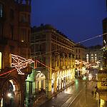 Luci d'artista a Torino. L'opera di Francesco Casorati in via Pietro Micca. Dicembre 2005...Artist's lights in Turin. The work by Francesco Casorati. December 2005...Ph. Marco Saroldi. Pho-to.it