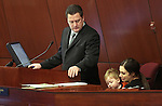 Nevada Assembly Speaker John Oceguera, D-Las Vegas, is joined on the Assembly floor by his wife Janie and their son Jackson on Friday, May 20, 2011, at the Legislature in Carson City, Nev. .Photo by Cathleen Allison