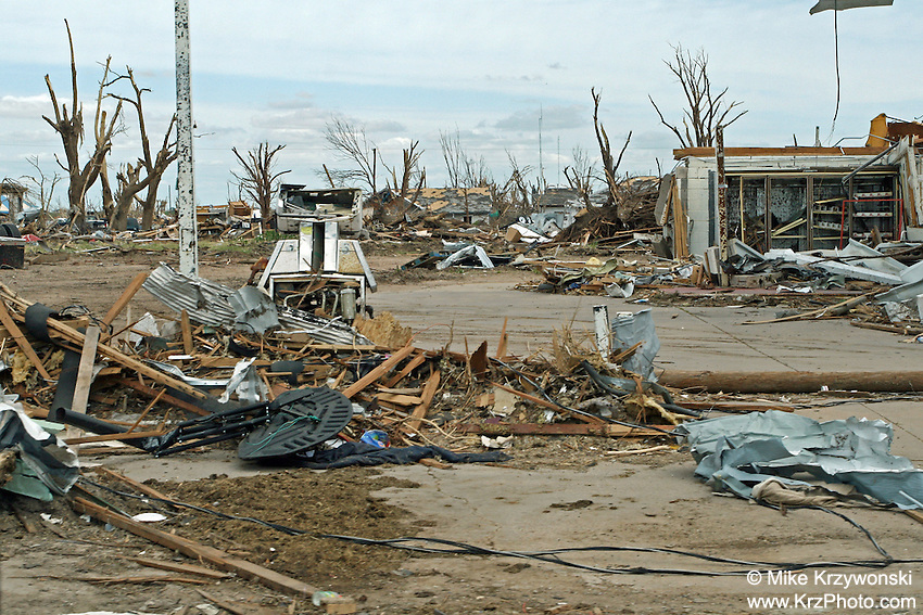 Destroyed gas station among F5 tornado damage in Greensburg, KS, May, 2007