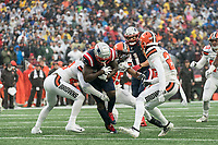 FOXBOROUGH, MA - OCTOBER 27: Cleveland Browns Safety Morgan Burnett #42 and Cleveland Browns Safety Jermaine Whitehead #35 stop New England Patriots Runningback Sony Michel #26 after 16 yards during a game between Cleveland Browns and New Enlgand Patriots at Gillettes on October 27, 2019 in Foxborough, Massachusetts.