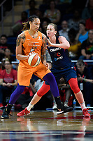 Washington, DC - July 30, 2019: Phoenix Mercury center Brittney Griner (42) makes a move to the basket guarded by Washington Mystics center Emma Meesseman (33) during game between the Phoenix Mercury and the Washington Mystics at the Entertainment & Sports Arena in Washington, DC. The Mystics defeated the Mercury 99-93. (Photo by Phil Peters/Media Images International)