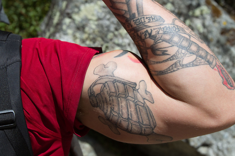 Dan Sidles tatoo close-up.  Photo by Didrik Johnck.