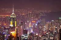 Hong Kong city skyline viewed from Victoria Peak at night, Hong Kong SAR, China, Asia
