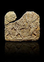 Photo of Hittite relief sculpted orthostat stone panel of Herald's Wall Limestone, Karkamıs, (Kargamıs), Carchemish (Karkemish), 900-700 B.C. Anatolian Civilisations Museum, Ankara, Turkey.<br /> <br /> Two sphinxes standing on their hind legs on both sides attack to the winged horse standing on its hind legs in the middle.  <br /> <br /> Against a black background.