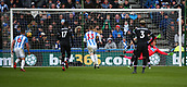 17th March 2018, The John Smiths Stadium, Huddersfield, England; EPL Premier League football, Huddersfield Town versus Crystal Palace; Luka Milivojevic of Crystal Palace beats Jonas Lossl of Huddersfield Town from the penalty spot  in the 67th minute to make it 0-2