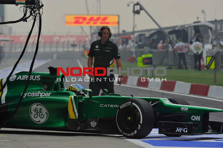 25.-27-10-2013, Jaypee-Circuit, Noida, IND, F1, Grosser Preis von Indien, Noida, im Bild  DHL Branding - Charles PIC (FRA) Caterham F1 Racing <br />  Foto &copy; nph / Mathis