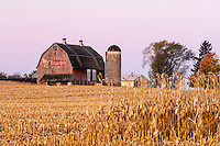 Red barn with Sugardale Farms logo.