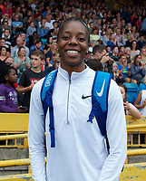 Lorraine Ugen of Great Britain after competing in the long jump during the Muller Grand Prix  IAAF Diamond League meeting at Alexander Stadium, Perry Barr, Birmingham.<br /> Picture by Alan Stanford +44 7915 056117<br /> 18/08/2018