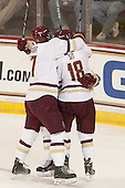 Destry Straight (BC - 17), Michael Sit (BC - 18) (Quinn) - The Boston College Eagles defeated the visiting University of New Brunswick Varsity Reds 6-4 in an exhibition game on Saturday, October 4, 2014, at Kelley Rink in Conte Forum in Chestnut Hill, Massachusetts.
