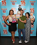Carmen Ruby Floyd, Jeff Marx and Erin Quill attends the 'Avenue Q' - 15th Anniversary Performance Celebration at Novotel on July 31, 2018 in New York City.