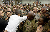 United States President Barack Obama greets U.S. troops at Bagram Air Field after a surprise visit to Afghanistan, May 1, 2012. .Mandatory Credit: Pete Souza - White House via CNP