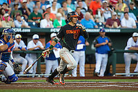 Christopher Barr (17) of the Miami Hurricanes bats during a game between the Miami Hurricanes and Florida Gators at TD Ameritrade Park on June 13, 2015 in Omaha, Nebraska. (Brace Hemmelgarn/Four Seam Images)