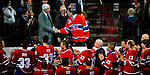 22 November 2008: Former Montreal Canadien goaltender Patrick Roy is greeted by Jean Beliveau and members of the current roster, all wearing his number 33 jersey at the Bell Centre in Montreal, Quebec, Canada. The Canadiens, celebrating their 100th season, honored Roy by retiring his jersey number in an emotional pre-game ceremony.  ****Editorial Use Only****..Mandatory Photo Credit: Ed Wolfstein Photo *** Editorial Sales through Icon Sports Media *** www.iconsportsmedia.com
