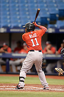 Boston Red Sox infielder Wendell Rijo (11) during an Instructional League game against the Tampa Bay Rays on September 25, 2014 at Tropicana Field in St. Petersburg, Florida.  (Mike Janes/Four Seam Images)