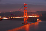 Golden Gate Bridge at dusk from Marin Headlands