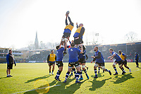 Bath Rugby forwards practise their lineout during the pre-match warm-up. Aviva Premiership match, between Bath Rugby and Sale Sharks on February 24, 2018 at the Recreation Ground in Bath, England. Photo by: Patrick Khachfe / Onside Images